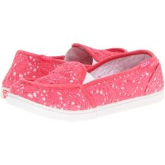 Roxy Lido Crochet Women's Slip on Shoes, Pink ($20) ❤ liked on Polyvore featuring shoes, pink, slip on deck shoes, flexible shoes, slip-on shoes, pink boat shoes and pink shoes