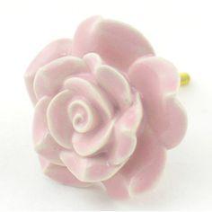 Set of 2 Pink Rose Ceramic Knobs Cabinet Drawer Pulls