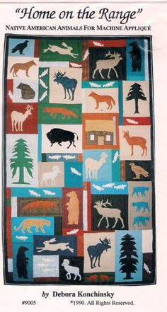 Native American Animals Quilting Pattern Applique Quilt Buffalo Elk Moose Fox Antelope Eagle Bear Native American Animals, Native American Crafts, Sully, Moose Quilt, Southwestern Quilts, Wildlife Quilts, Wood Badge, Indian Quilt, Star Blanket