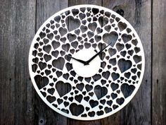 This listing is for Unique Wooden wall clock for wedding, home decor!  - Diameter 40cm ( 15.7 Inch) - Material: wood 3mm - AA battery, not included - painted with high-quality white paint.  If you need other colors, so convo me and I will do best to get you exactly what you need.**  Thanks for visiting my shop