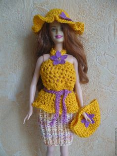 """Купить Одежда для кукол (Комплект """"Летний"""") - одежда для кукол, одежда для барби, вязаная одежда"""