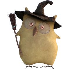 Sparrow Primitives  Handmade Halloween Owl Witch Primitive Art Doll