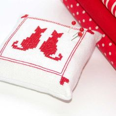 two cats are better than one - redwork cross stitch pincushion by Bela Stitches, via Flickr