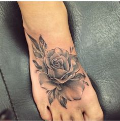 Rose foot tattoo Would love this but in a vintage pastel colors.
