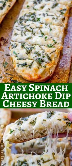 We loved this recipe for Spinach Artichoke Dip Cheesy Bread so much we made it twice in one week!