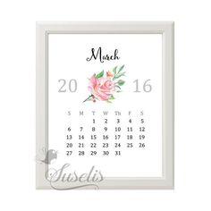 2016 Printable Kitchen Calendar Instant Download 2016 by Suselis