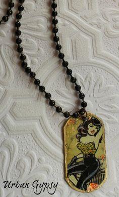 Vegas Rockabilly Weekend Urban Gypsy Retro Look Babe Oval Pendant Necklace by UrbanGypsyIndy on Etsy