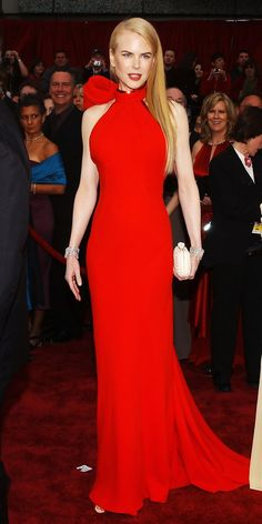 Red gown is beautiful and sleek#