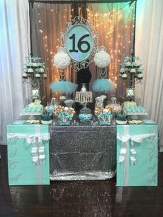 Turquoise, White, and Black with Silver Accents Candy Buffet with Silver dusted White Ganache Macaroons and White chocolate dipped candy apples with sugar pearls. Sweet 16 Themes, Sweet 16 Decorations, 16th Birthday Decorations, Sweet 16 Centerpieces, Tiffany Theme, Tiffany Party, 13th Birthday Parties, 15th Birthday, Birthday Ideas