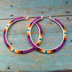 Native American Handcrafted Purple Beaded Hoop by OraLouiseJewelry Beaded Earrings Native, Beaded Earrings Patterns, Earrings Handmade, Handmade Jewelry, Hoop Earrings, Seed Bead Jewelry, Beaded Jewelry, Jewellery, Brick Stitch Earrings