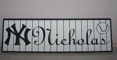Personalized NY Yankee Name Sign Baseball Room Wall Decor Painted Wood. $25.50, via Etsy.