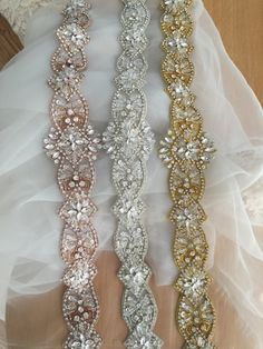 New arrival luxury rhinestone applique, special design in lovely 3 colors, which are very popular color this year, especially the rose gold ones . length is about 47 cm while widest point is about 6 cm We just have 5 pieces for each color, limited stock my shop link: