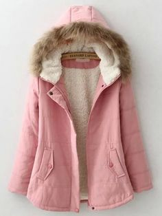 SheIn offers Pink Faux Fur Hooded Pockets Coat & more to fit your fashionable needs. Girls Winter Fashion, Girls Fashion Clothes, Winter Fashion Outfits, Crop Top Outfits, Warm Outfits, Denim Jacket With Fur, Stylish Dresses For Girls, Winter Jackets Women, Sweater And Shorts