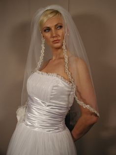 Wedding veil with silver trimm pearls by CocoBridalBoutique
