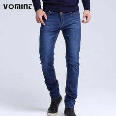 8c434d7397 Mens jeans New Fashion Men Casual Jeans Slim Straight High Elasticity Feet  Jeans Loose Waist Long Trousers hot sell