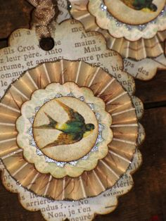 Set of THREE Vintage Inspired Bird (swallows) Gift Tags Ornaments Victorian Paper Rosettes Spring. $12.00, via Etsy.