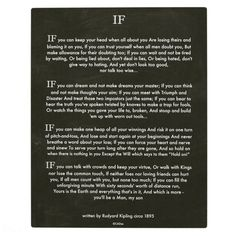 IF Quote by Rudyard Kipling (jungle book author) Plaque - graduation gifts giftideas idea party celebration Rudyard Kipling Jungle Book, If Rudyard Kipling, Wisdom Quotes, True Quotes, Qoutes, Lost Quotes, Baby Quotes, Encouragement Quotes, Quotable Quotes