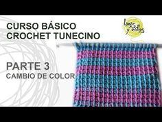 Curso Básico Crochet Tunecino: Parte 3 Cambio de color - YouTube