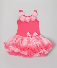 Another great find on #zulily! Hot & Light Pink Rosette Ruffle Dress - Infant, Toddler & Girls by Tatertottlers #zulilyfinds