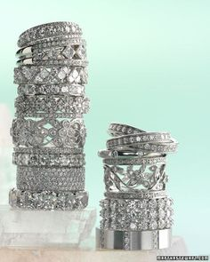 Thick vintage diamond wedding bands! drooling. - Click image to find more Weddings Pinterest pins