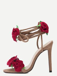 Sandalias peep toe flor tacón de aguja