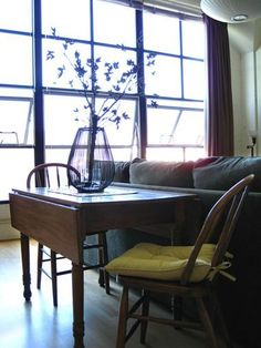 Place dining table behind the sofa! This changes everything. 5 Things to Put Behind a Sofa (Besides a Sofa Table)