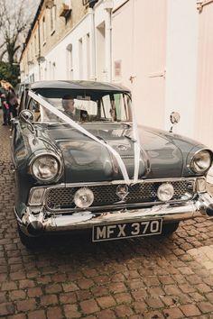 Vintage Wedding Car for Rustic Wedding | By The Chamberlins Wedding Photography | Rustic Wedding | The Great British Bake Off | Martha Collinson | Bake Off Star | Star Baker Wedding | GBBO Wedding | Wedding Car | Wedding Transport