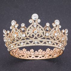 Wonderful Crystal Gold Alloy Prom Homecoming Quinceanera Tiara Crown