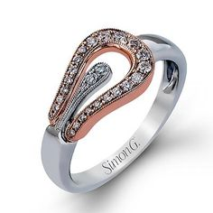 18kt white and rose gold Simon G ring. $1675 A MUST HAVE!!! #charismajewelers #simong #ring #diamond