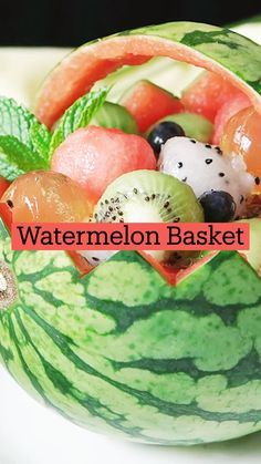 Fun Baking Recipes, Fruit Recipes, Whole Food Recipes, Dessert Recipes, Cooking Recipes, Watermelon Basket, Tastemade Recipes, Taste Made, Fruit Dishes