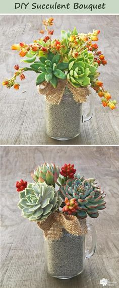 DIY Succulent Bouquet in Mason Jar Mugs! DIY Succulent Bouquet in a Mason Jar Mug.