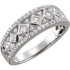 e4e5a128a 1/2 Ct Princess & Round Cut Natural Diamond 14K White Gold Anniversary Band  Ring # Free Stud Earring