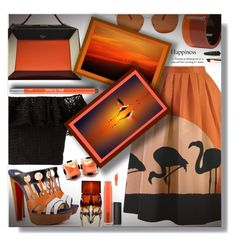 """""""Orange flamingo"""" by sarahguo ❤ liked on Polyvore featuring Christian Louboutin, MAC Cosmetics, Mulberry, Philosophy di Lorenzo Serafini, Lucky Brand, Hermès, Urban Decay, Sephora Collection and PearlsandLace"""
