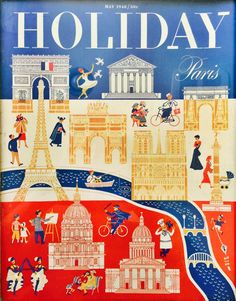 1948 Holiday Magazine Cover Paris by creaaativity on Etsy