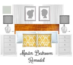 Meghan Stroebel Interiors: Master Bedroom Remodel. Tiger Maple, Yellow ikat pillows, ikea rast hack, gray silhouettes, chevron lamps.