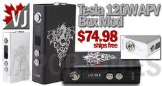 MO' POWER! – Tesla 120W APV Box Mods – 2×18650 – $74.98