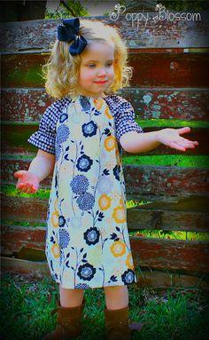 Winter Gray and Gold Peasant Dress. $30.00, via Etsy.