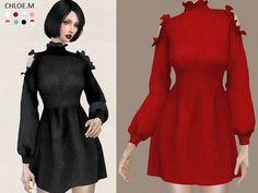 Dress with falbala for The Sims 4
