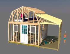 This tiny house has a sleeping area in the loft, small kitchen and bathroom, and 6' side porch. The plans can be modified to easily build this nice tiny house.