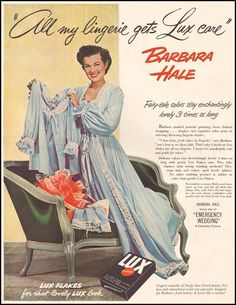 Barbara Hale in blue negligee in LUX ad 1940s