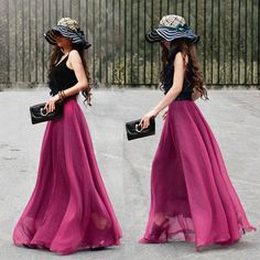 17 Colors Double Silk Chiffon Long Skirt / Summer by FlowersValley, kr359.00