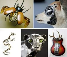 Strange sci-fi creatures come to life with the use of skeletons, vacuum parts, watch gears and other found objects in these 36 steampunk animal sculptures. Animal Sculptures, Metal Sculptures, Wild West Era, Steampunk Animals, Watch Gears, Mans World, Victorian Era, Objects, Creatures