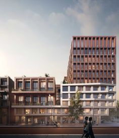 Beta office for architecture and the city space&matter amsterdam kop zuidas exterior render by vismo. Brick Architecture, Architecture Visualization, Sustainable Architecture, Residential Architecture, Classical Architecture, Amsterdam, New Urbanism, Balcony Railing Design, Mix Use Building
