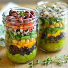 Layered Seven-Bean Salad with Lemon Thyme Dressing