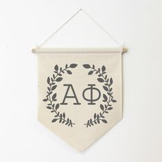 Alpha Phi Wreath Wall Banner, ΑΦ, Sorority Wall Hanging, Sorority Gift, Greek Letters, Pennant, Wall Flag, Dorm Decor by Sororitee on Etsy https://www.etsy.com/listing/254010078/alpha-phi-wreath-wall-banner-aph