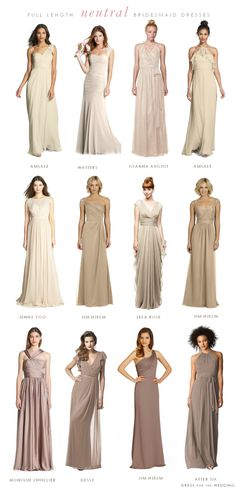 Mismatched Neutral Bridesmaid Dresses | Dress for the Wedding and i'm sure they come in all sorts of colours, too
