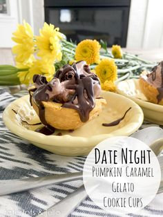 Pumpkin Caramel Gelato Cookie Cups! Perfect recipe for a party, or date night! -- Tatertots and Jello