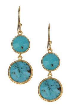 Turquoise Double Coin Dangle Earrings