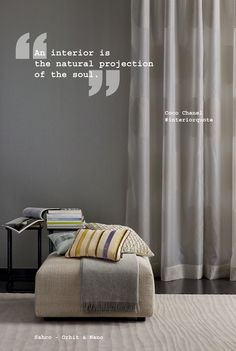 """""""An interior is the natural projection of the soul. Interior Design Quotes, Interior Design Guide, Modern Interior Design, Interior Decorating, Home Decor Quotes, Home Quotes And Sayings, Architecture Quotes, Interior Architecture, Maker"""