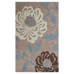 White Zen Beige/Blue 2 ft. 3 in. x 3 ft. 9 in. Area Rug